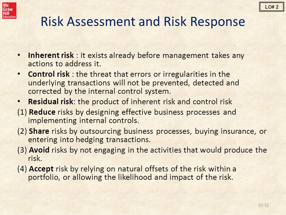 Risk Assessment and Risk Response Inherent risk : It exists already before management takes any actions to address it. Control risk : the threat that