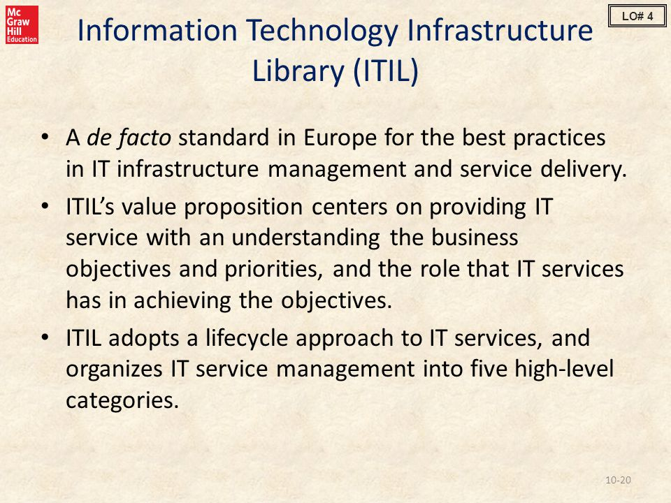 Information Technology Infrastructure Library (ITIL) A de facto standard in Europe for the best practices in IT infrastructure management and service