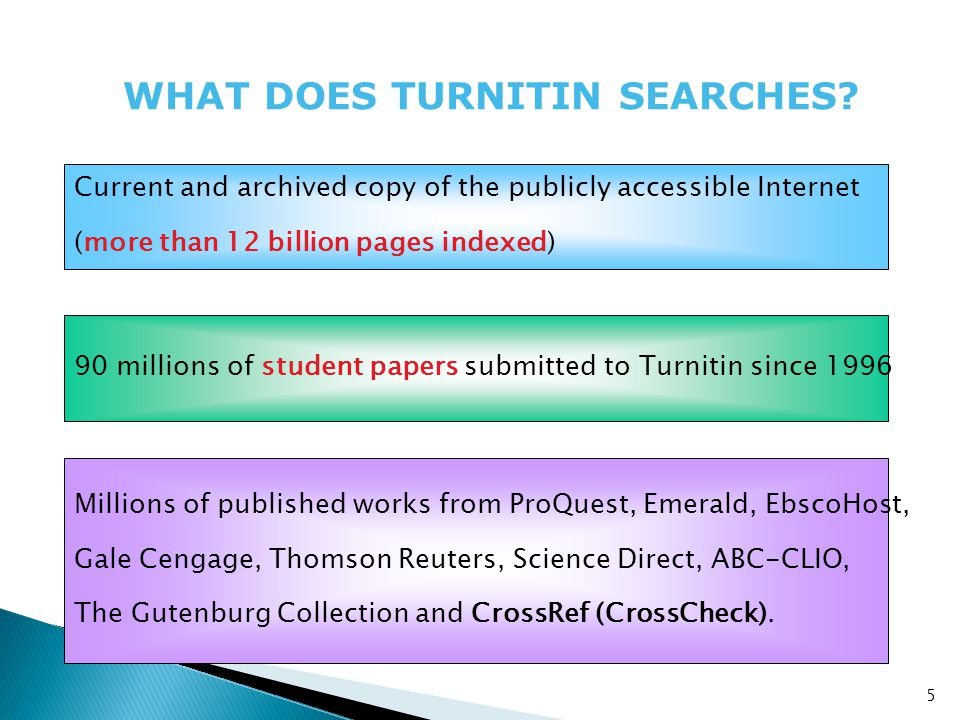 WHAT DOES TURNITIN SEARCHES.