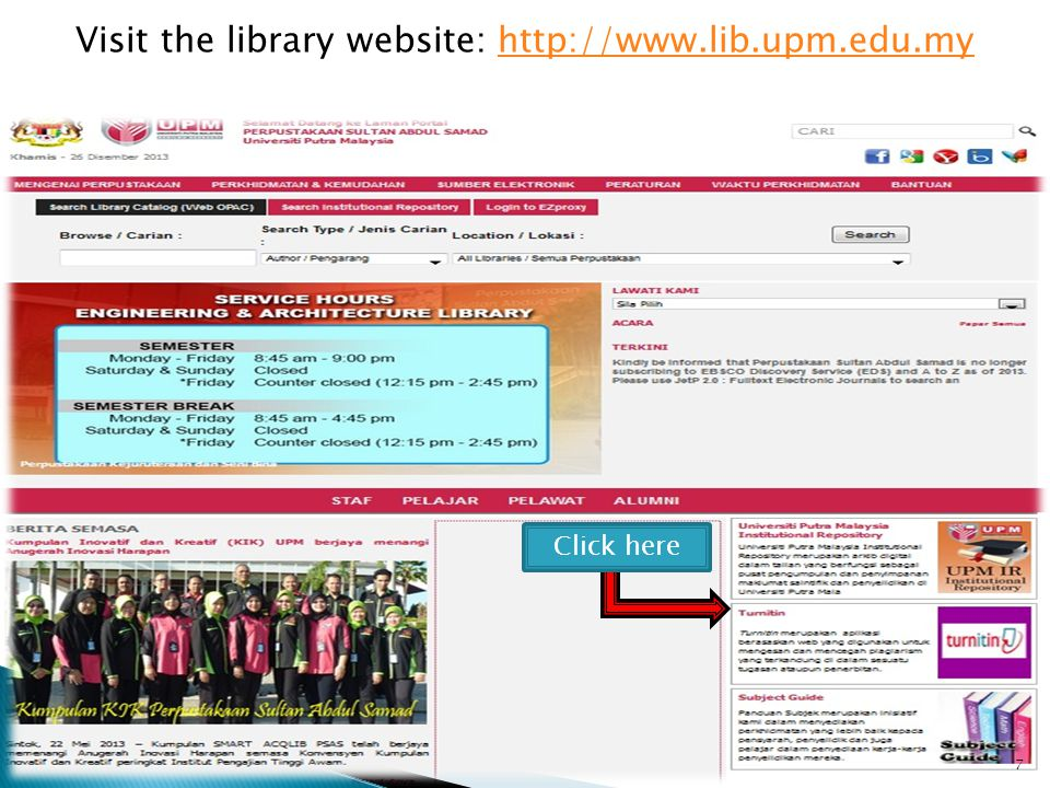 Visit the library website:   7 Click here