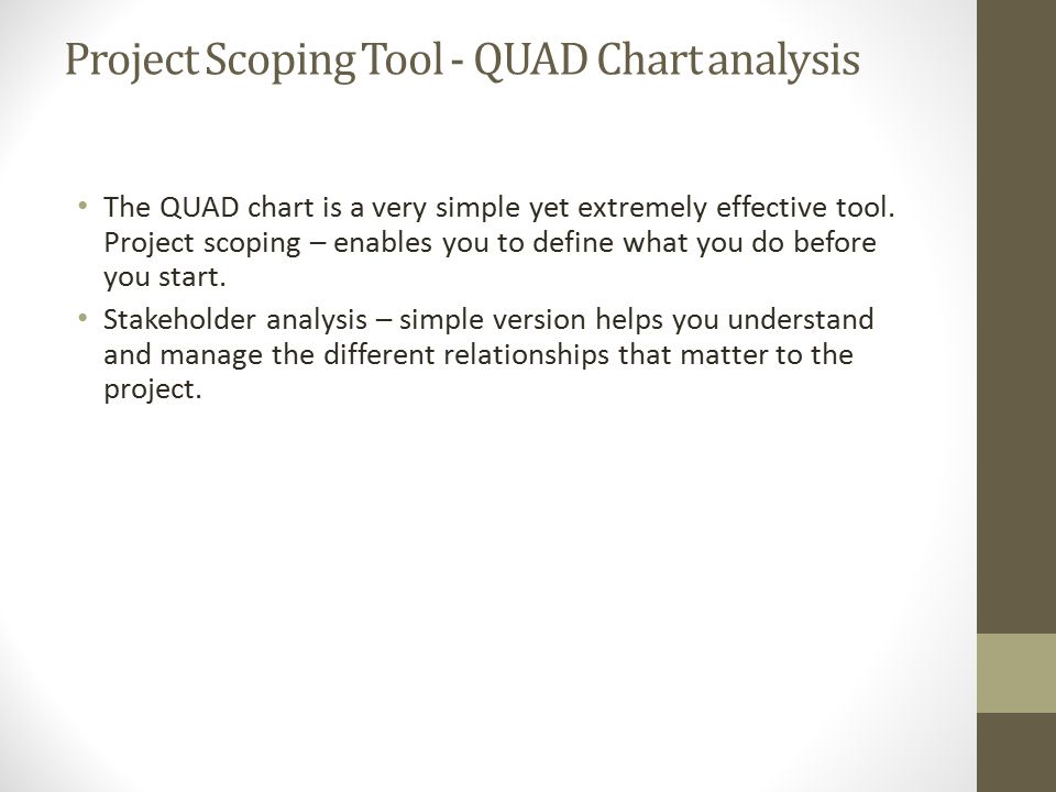 Project Scoping Tool - QUAD Chart analysis The QUAD chart is a very simple yet extremely effective tool.