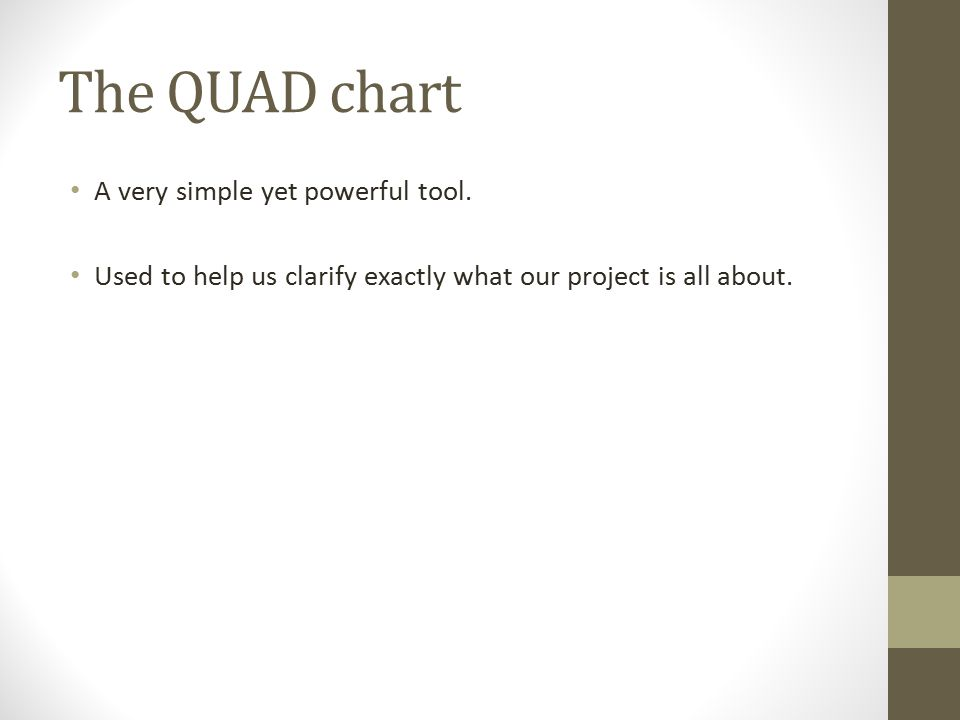 The QUAD chart A very simple yet powerful tool.