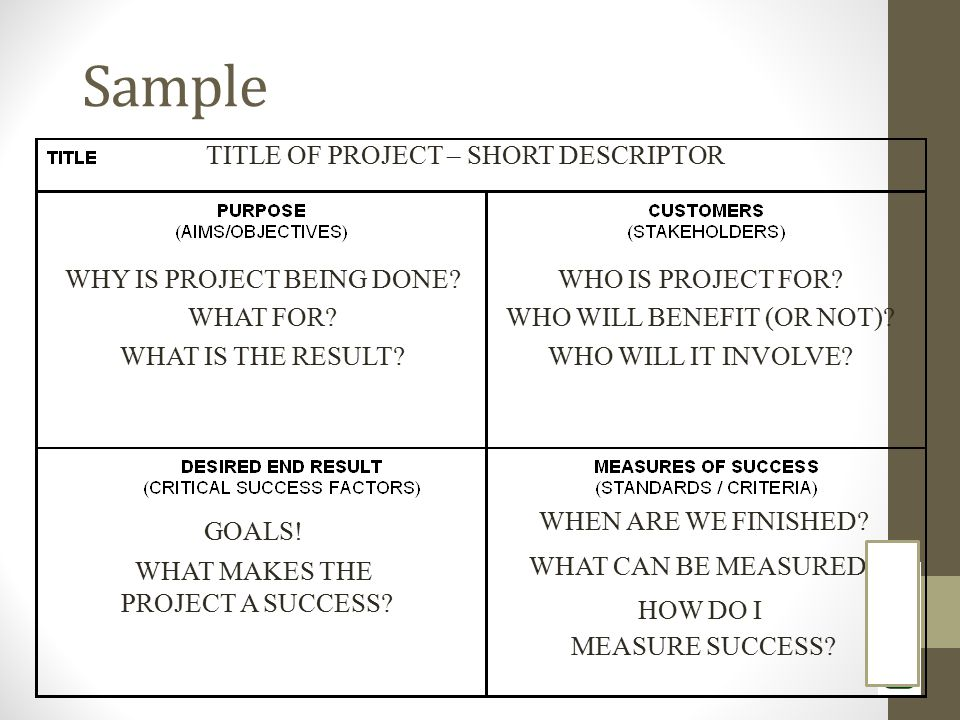 Sample WHY IS PROJECT BEING DONE? WHAT FOR? WHAT IS THE RESULT? WHO IS PROJECT FOR? WHO WILL BENEFIT (OR NOT)? WHO WILL IT INVOLVE? GOALS! WHAT MAKES