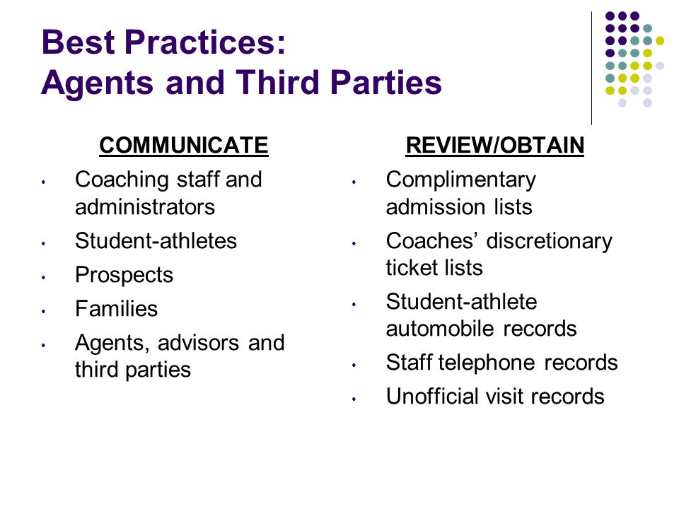 Best Practices: Agents and Third Parties COMMUNICATE Coaching staff and administrators Student-athletes Prospects Families Agents, advisors and third parties REVIEW/OBTAIN Complimentary admission lists Coaches' discretionary ticket lists Student-athlete automobile records Staff telephone records Unofficial visit records