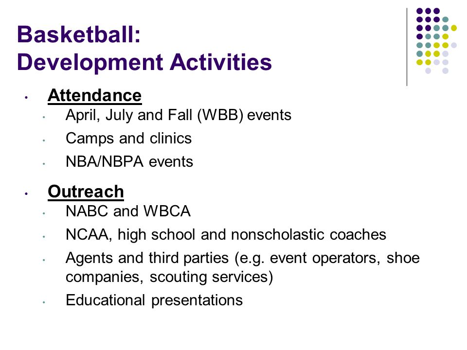 Basketball: Development Activities Attendance April, July and Fall (WBB) events Camps and clinics NBA/NBPA events Outreach NABC and WBCA NCAA, high school and nonscholastic coaches Agents and third parties (e.g.