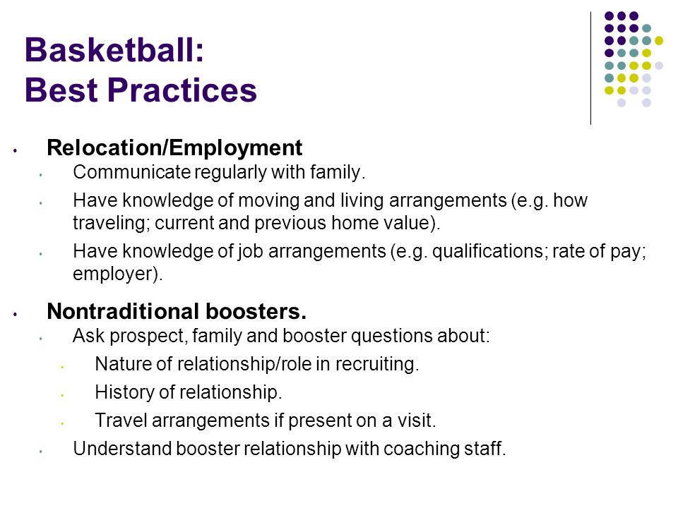 Basketball: Best Practices Relocation/Employment Communicate regularly with family.