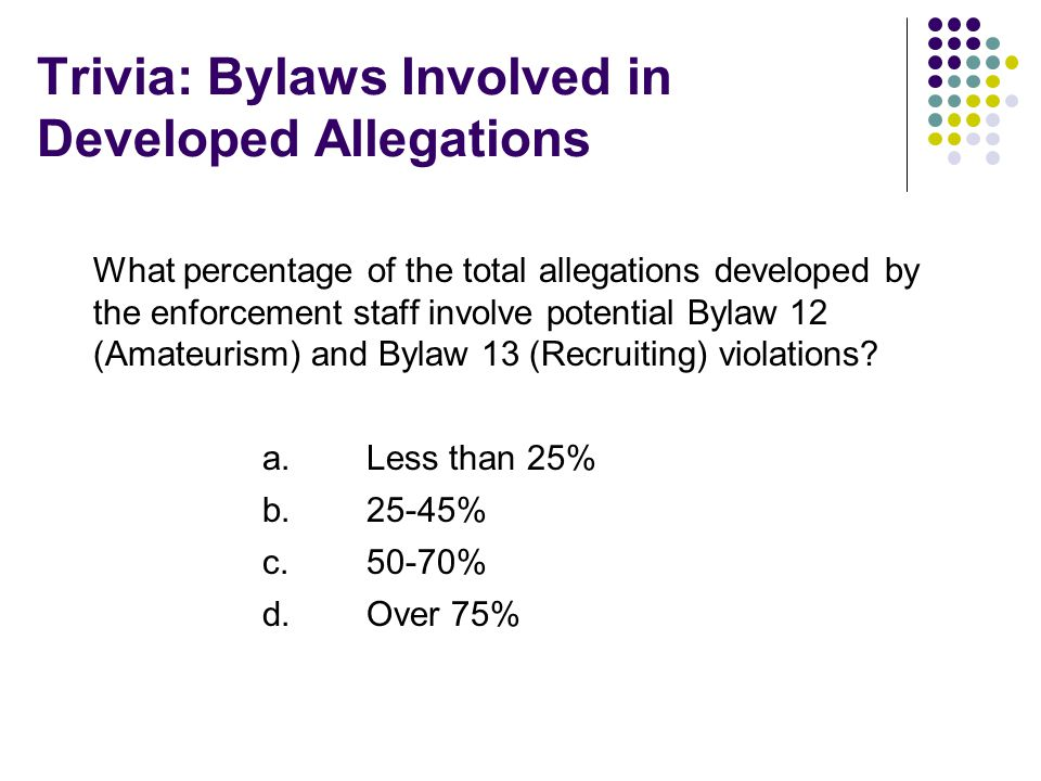 Trivia: Bylaws Involved in Developed Allegations What percentage of the total allegations developed by the enforcement staff involve potential Bylaw 12 (Amateurism) and Bylaw 13 (Recruiting) violations.