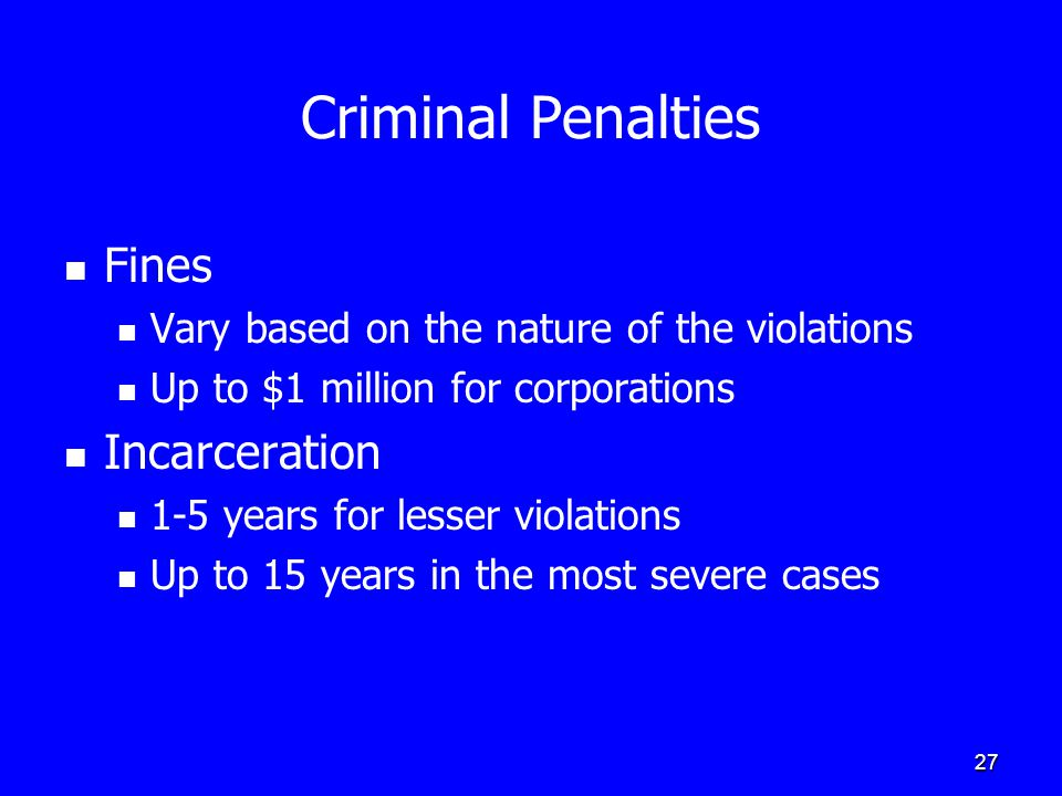 27 Criminal Penalties Fines Vary based on the nature of the violations Up to $1 million for corporations Incarceration 1-5 years for lesser violations Up to 15 years in the most severe cases