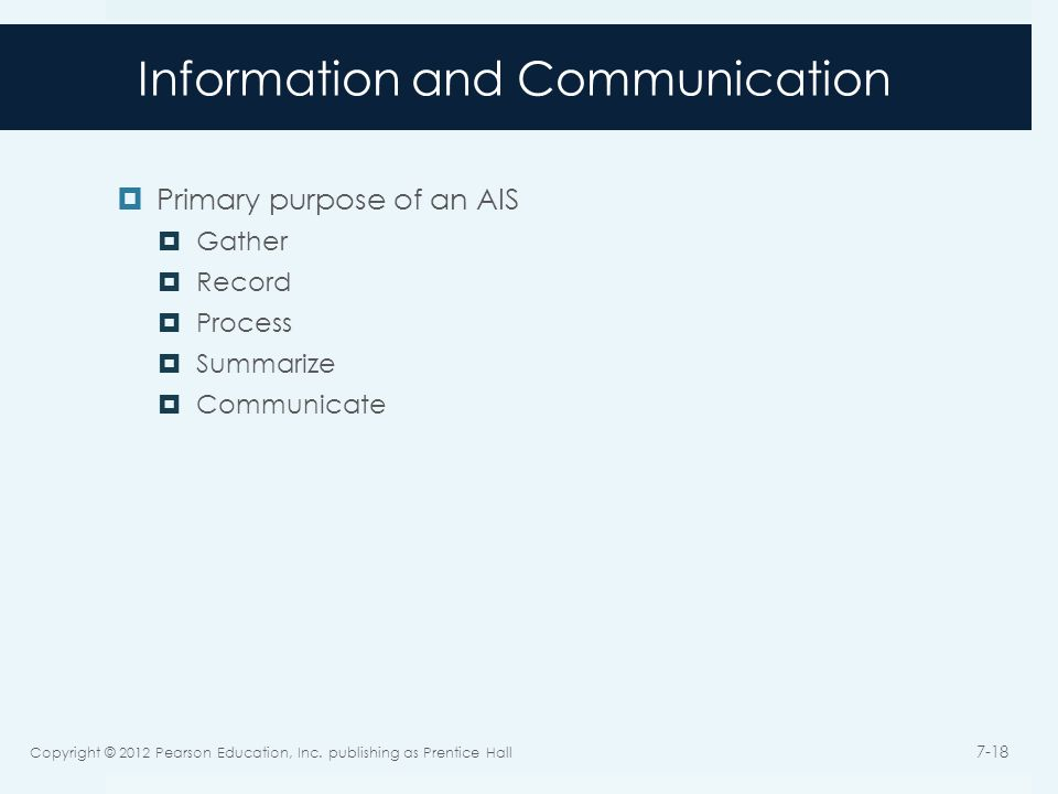 Information and Communication  Primary purpose of an AIS  Gather  Record  Process  Summarize  Communicate Copyright © 2012 Pearson Education, In