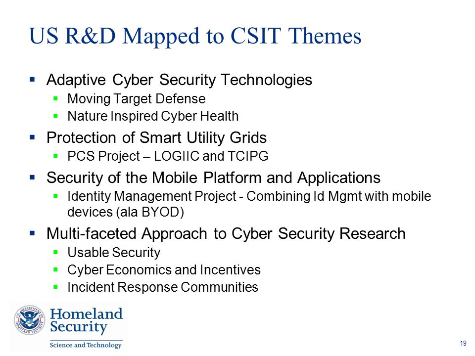 US R&D Mapped to CSIT Themes  Adaptive Cyber Security Technologies  Moving Target Defense  Nature Inspired Cyber Health  Protection of Smart Utili