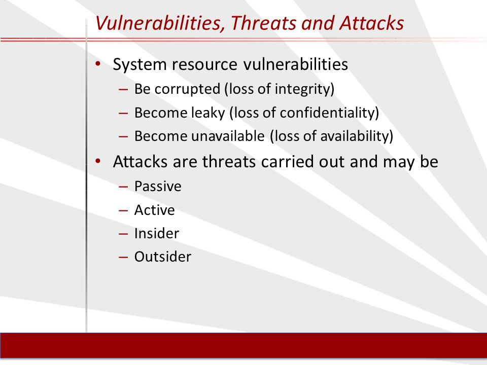 Vulnerabilities, Threats and Attacks System resource vulnerabilities – Be corrupted (loss of integrity) – Become leaky (loss of confidentiality) – Become unavailable (loss of availability) Attacks are threats carried out and may be – Passive – Active – Insider – Outsider