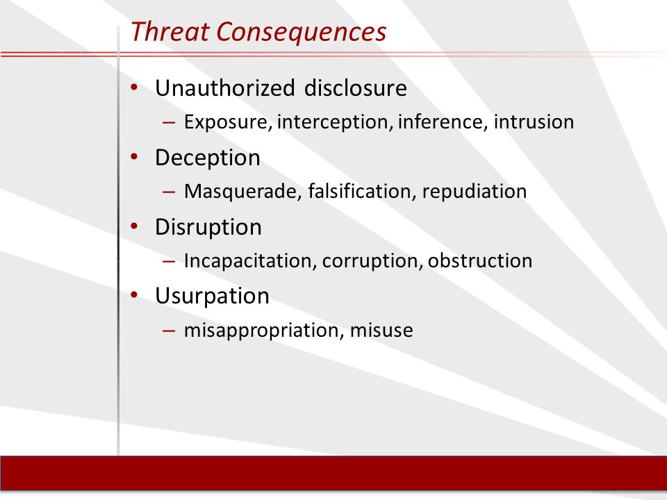 Threat Consequences Unauthorized disclosure – Exposure, interception, inference, intrusion Deception – Masquerade, falsification, repudiation Disruption – Incapacitation, corruption, obstruction Usurpation – misappropriation, misuse