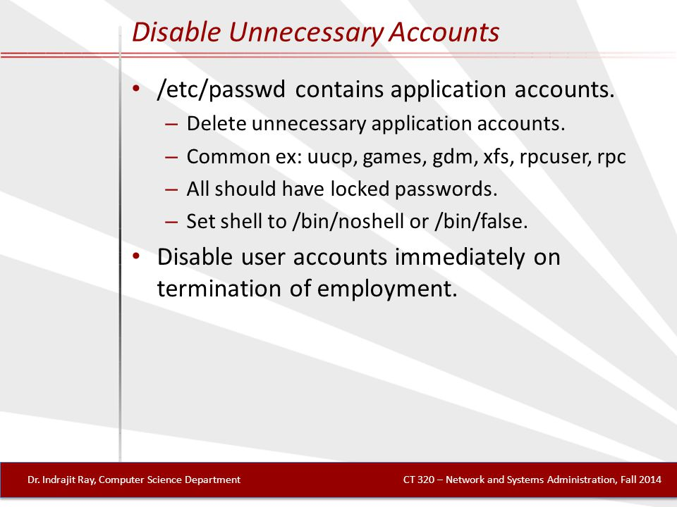 Disable Unnecessary Accounts Dr.