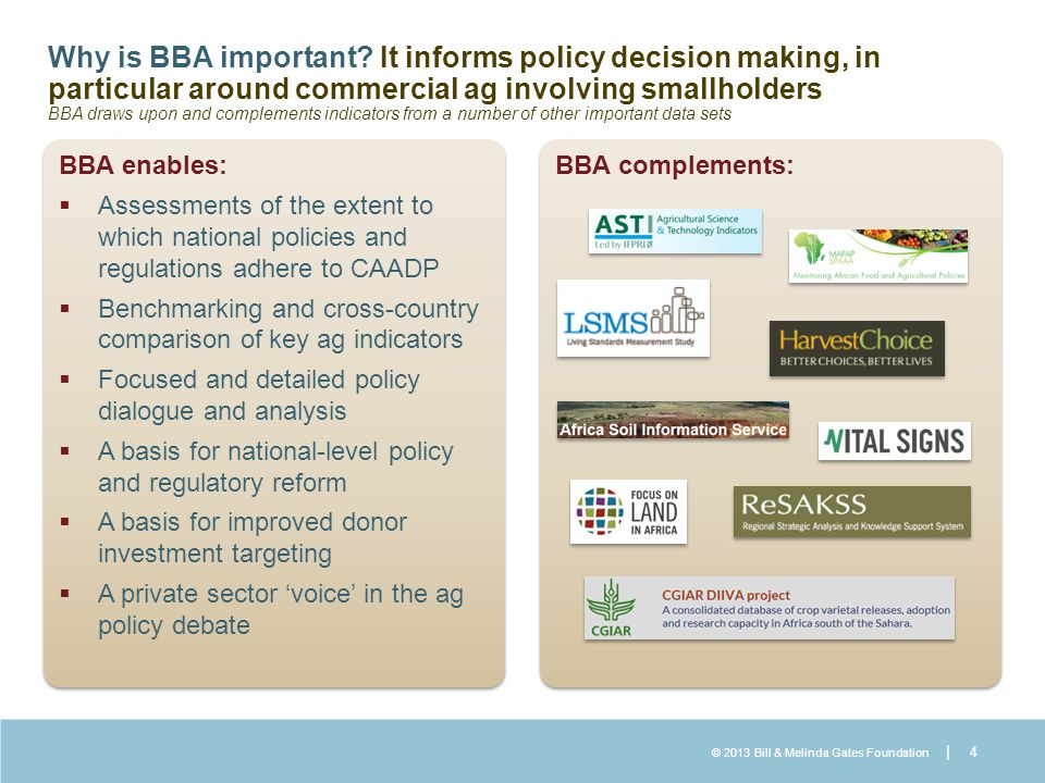 © 2013 Bill & Melinda Gates Foundation | Why is BBA important? It informs policy decision making, in particular around commercial ag involving smallho
