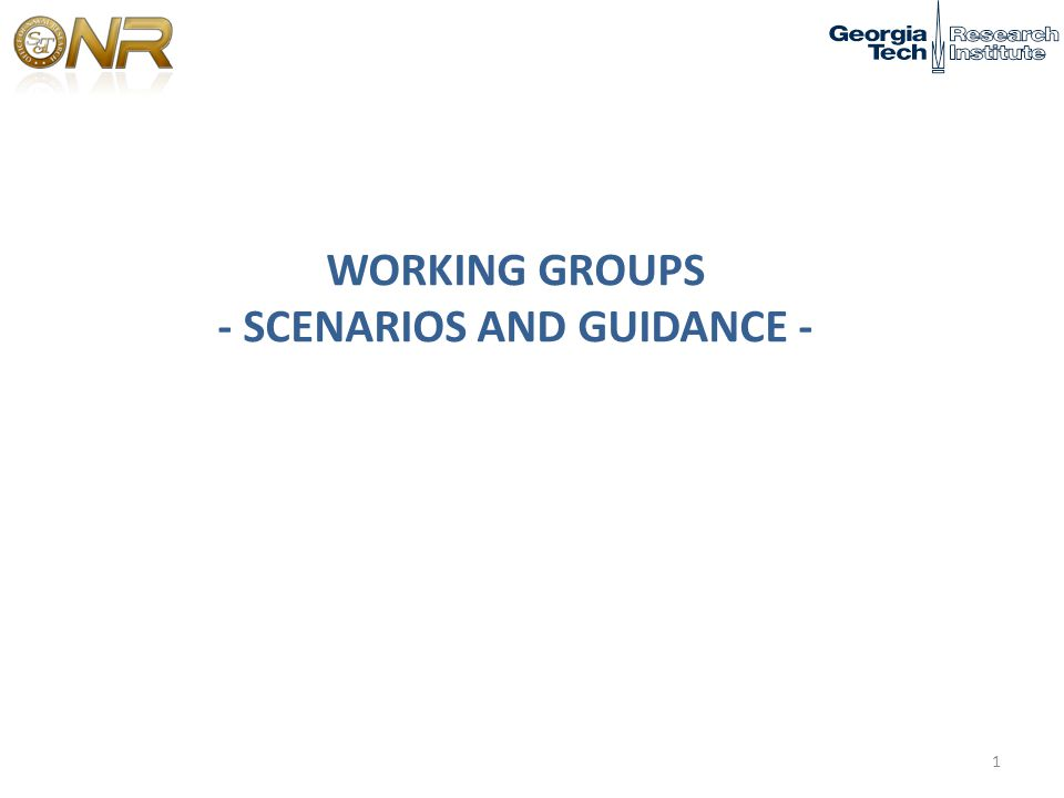 WORKING GROUPS - SCENARIOS AND GUIDANCE - 1