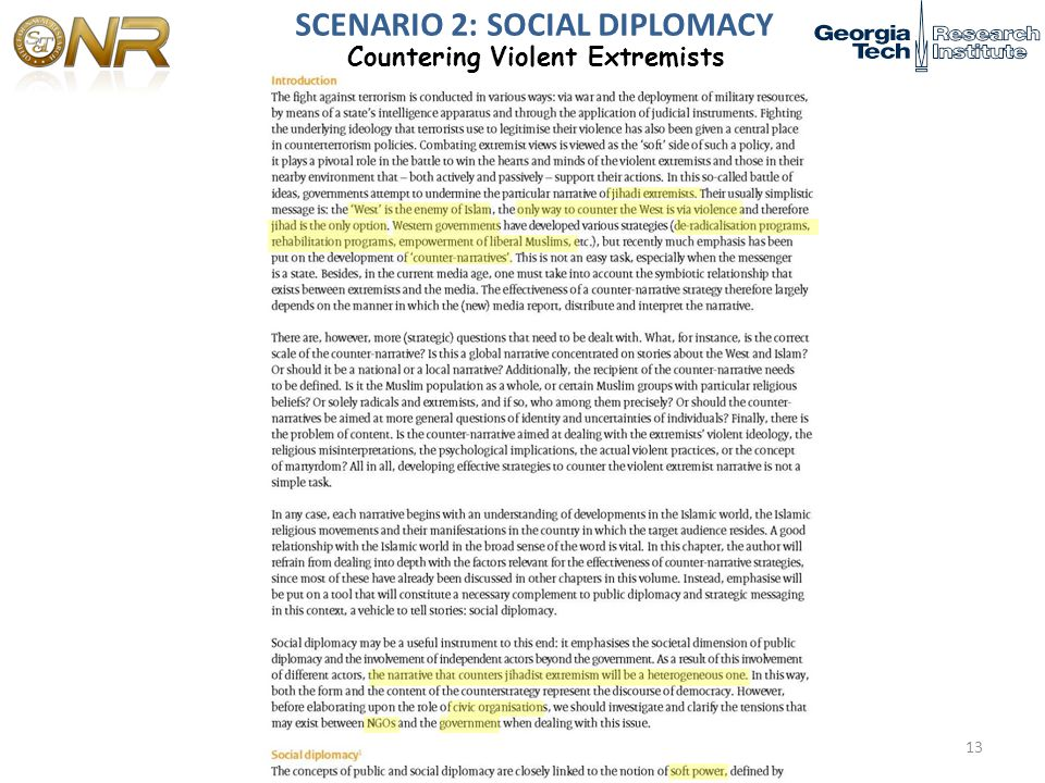 SCENARIO 2: SOCIAL DIPLOMACY Countering Violent Extremists 13