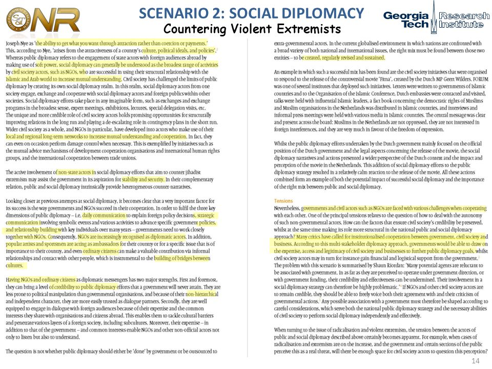 SCENARIO 2: SOCIAL DIPLOMACY Countering Violent Extremists 14