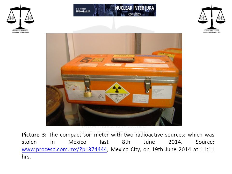 Picture 3: The compact soil meter with two radioactive sources; which was stolen in Mexico last 8th June 2014.