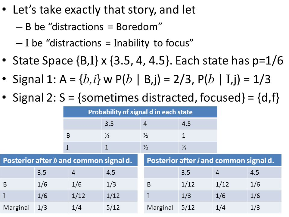 Let's take exactly that story, and let – B be distractions = Boredom – I be distractions = I nability to focus State Space {B, I } x {3.5, 4, 4.5}.