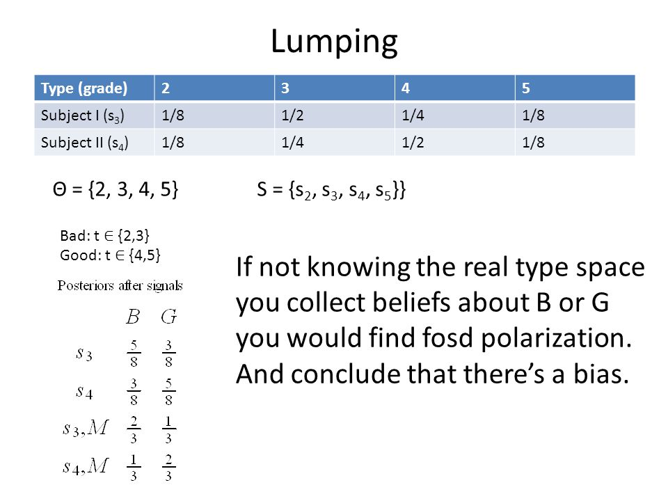 Lumping Type (grade)2345 Subject I (s 3 )1/81/21/41/8 Subject II (s 4 )1/81/41/21/8 Bad: t ∈ {2,3} Good: t ∈ {4,5} Θ = {2, 3, 4, 5}S = {s 2, s 3, s 4, s 5 }} If not knowing the real type space you collect beliefs about B or G you would find fosd polarization.