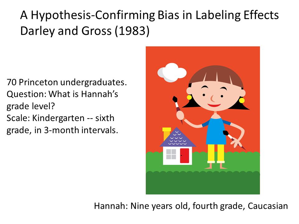 A Hypothesis-Confirming Bias in Labeling Effects Darley and Gross (1983) Hannah: Nine years old, fourth grade, Caucasian 70 Princeton undergraduates.
