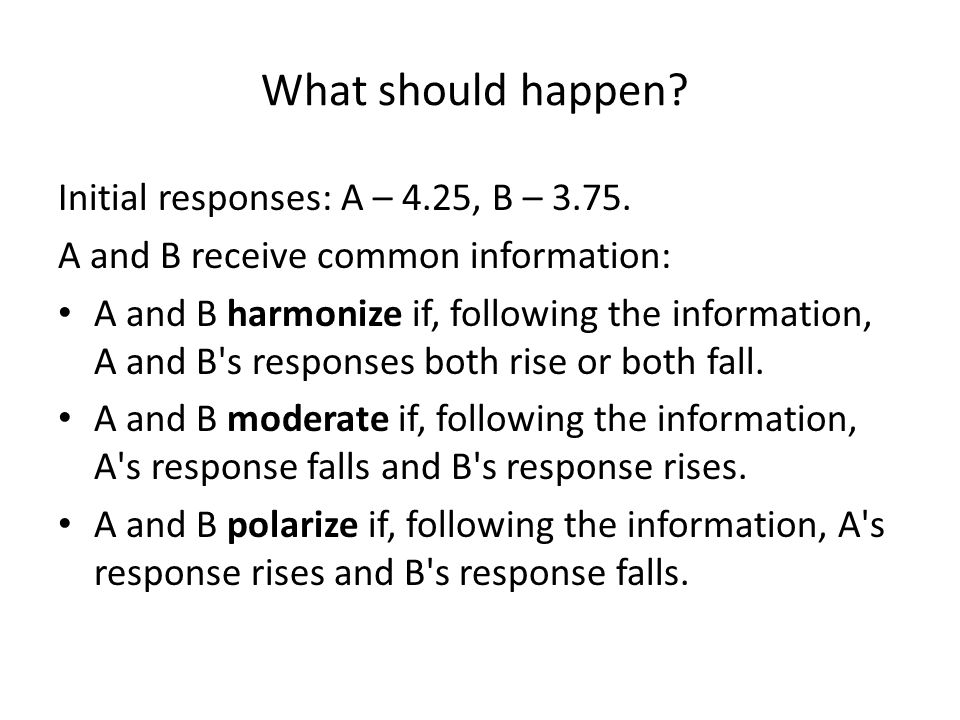 What should happen.Initial responses: A – 4.25, B – 3.75.