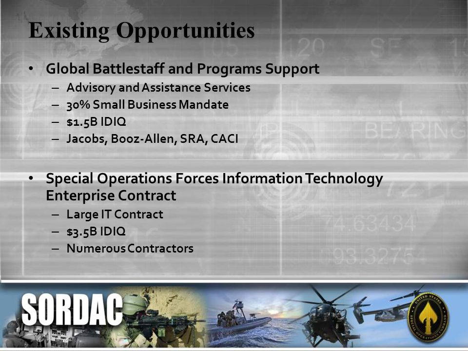 Existing Opportunities Global Battlestaff and Programs Support – Advisory and Assistance Services – 30% Small Business Mandate – $1.5B IDIQ – Jacobs,