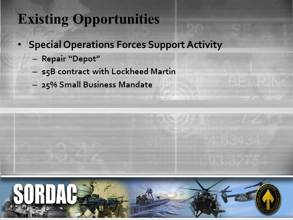 Existing Opportunities Special Operations Forces Support Activity – Repair Depot – $5B contract with Lockheed Martin – 25% Small Business Mandate