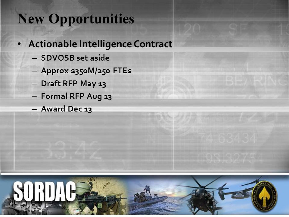 New Opportunities Actionable Intelligence Contract – SDVOSB set aside – Approx $350M/250 FTEs – Draft RFP May 13 – Formal RFP Aug 13 – Award Dec 13