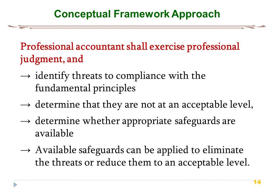 14 Conceptual Framework Approach Professional accountant shall exercise professional judgment, and → identify threats to compliance with the fundament
