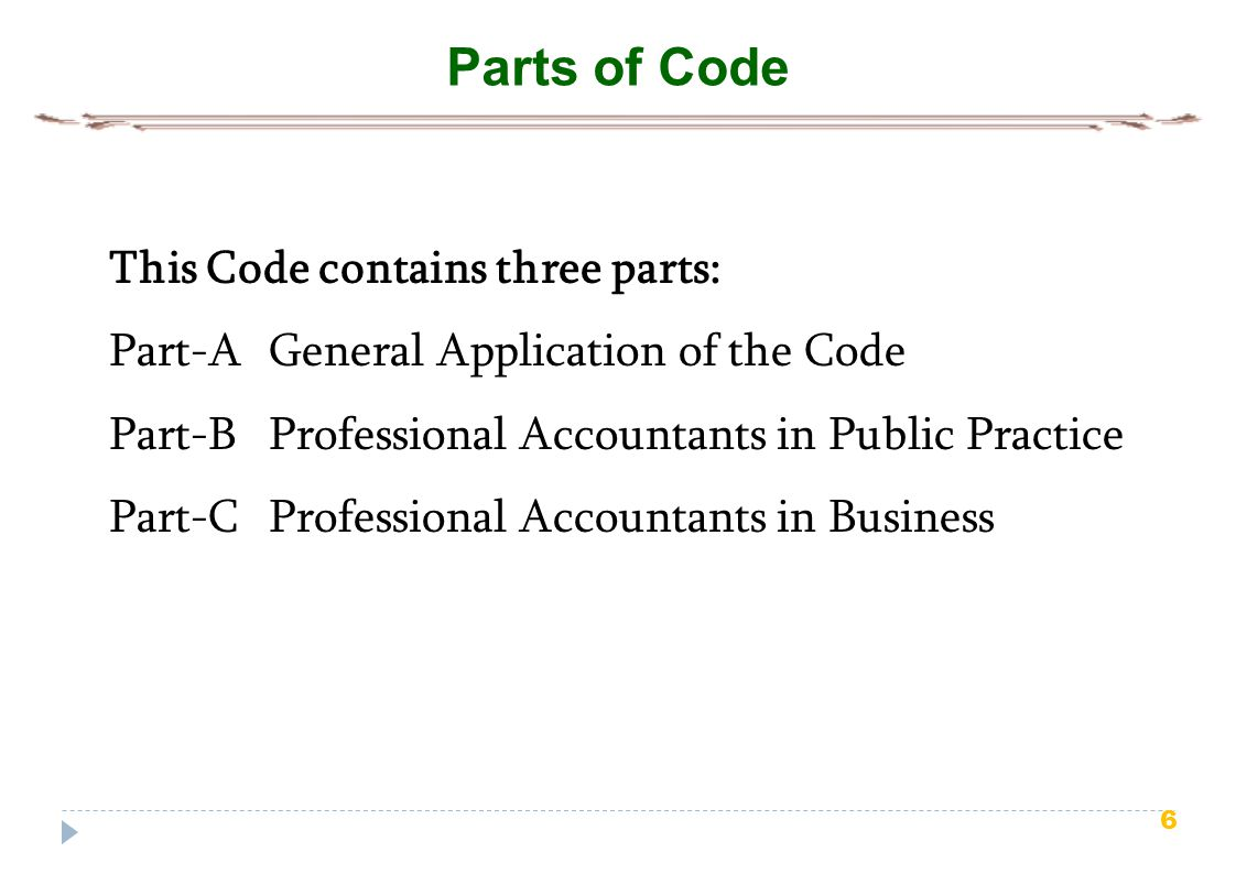 6 Parts of Code This Code contains three parts: Part-A General Application of the Code Part-B Professional Accountants in Public Practice Part-C Profe