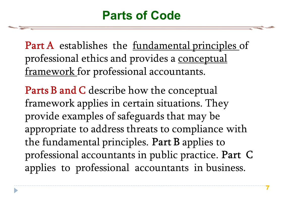 8 Part-A General Application of the Code Part A establishes the fundamental principles of professional ethics for professional accountants and provides a conceptual framework that professional accountants shall apply to: (a) Identify threats to compliance with the fundamental principles; (b) Evaluate the significance of the threats identified; and (c) Apply safeguards, when necessary, to eliminate the threats or reduce them to an acceptable level.