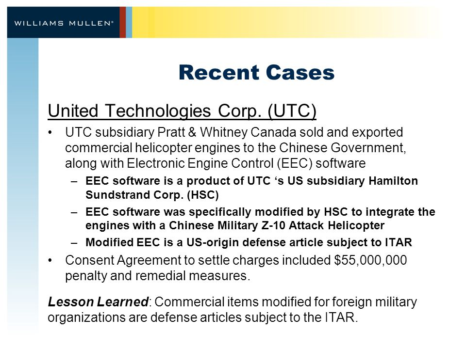 Recent Cases United Technologies Corp.