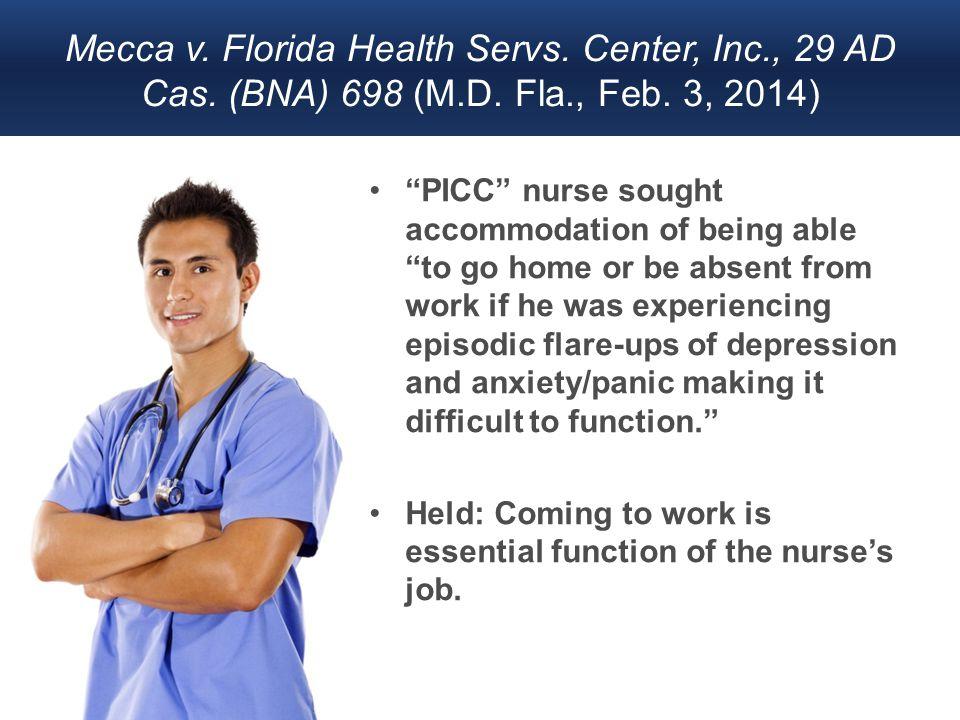 Mecca v. Florida Health Servs. Center, Inc., 29 AD Cas.