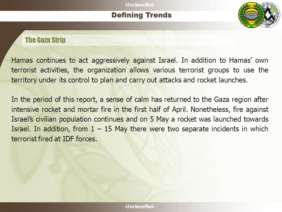 -Unclassified- May 13 th cont'd- A young Israeli citizen reported identifying three armed suspects dressed in black leaping from bushes near the fence in the vicinity of the Kfar Oranim community.