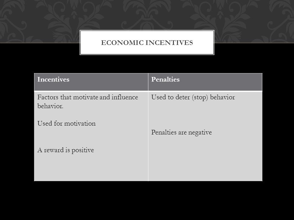 ECONOMIC INCENTIVES IncentivesPenalties Factors that motivate and influence behavior. Used for motivation A reward is positive Used to deter (stop) be