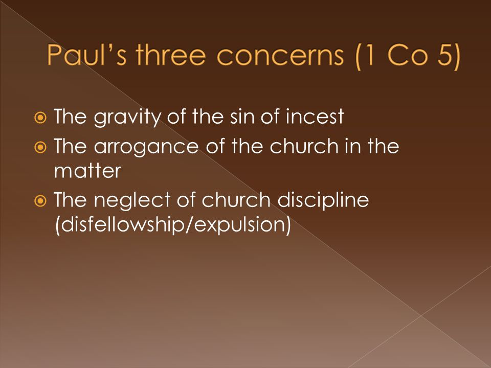  The gravity of the sin of incest  The arrogance of the church in the matter  The neglect of church discipline (disfellowship/expulsion)
