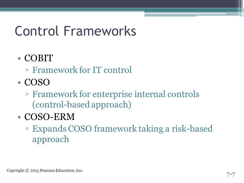 Copyright © 2015 Pearson Education, Inc. Control Frameworks COBIT ▫Framework for IT control COSO ▫Framework for enterprise internal controls (control-
