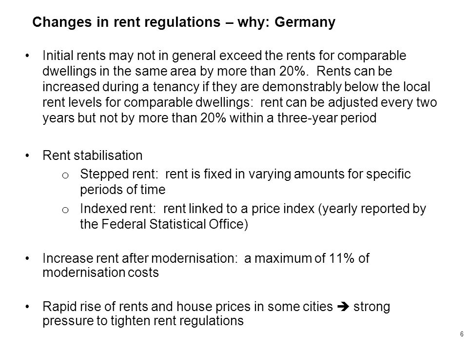 Initial rents may not in general exceed the rents for comparable dwellings in the same area by more than 20%.