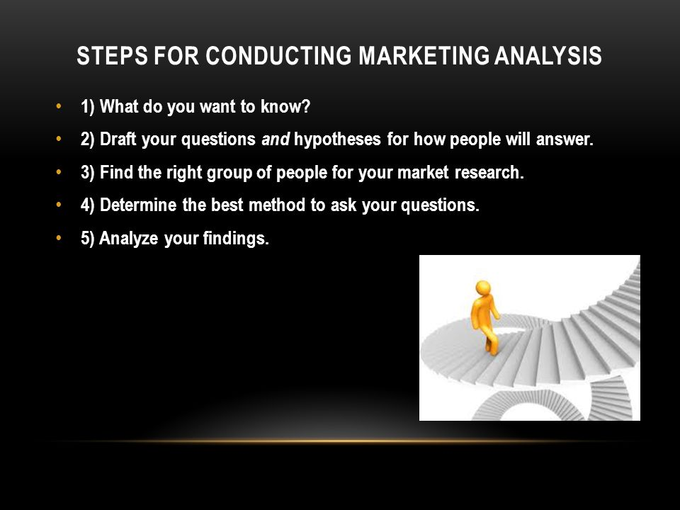 STEPS FOR CONDUCTING MARKETING ANALYSIS 1) What do you want to know.