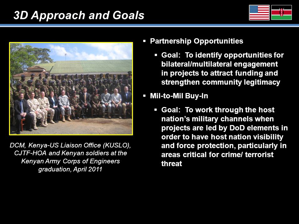 3D Approach and Goals  Partnership Opportunities  Goal: To identify opportunities for bilateral/multilateral engagement in projects to attract funding and strengthen community legitimacy  Mil-to-Mil Buy-In  Goal: To work through the host nation's military channels when projects are led by DoD elements in order to have host nation visibility and force protection, particularly in areas critical for crime/ terrorist threat DCM, Kenya-US Liaison Office (KUSLO), CJTF-HOA and Kenyan soldiers at the Kenyan Army Corps of Engineers graduation, April 2011