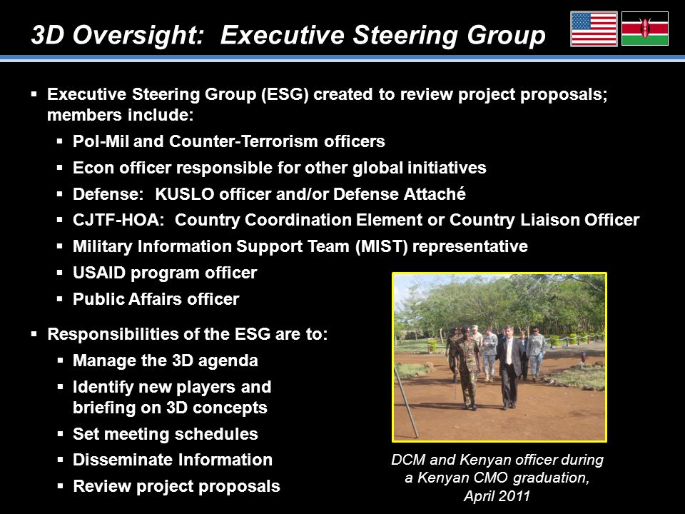 3D Oversight: Executive Steering Group  Executive Steering Group (ESG) created to review project proposals; members include:  Pol-Mil and Counter-Terrorism officers  Econ officer responsible for other global initiatives  Defense: KUSLO officer and/or Defense Attaché  CJTF-HOA: Country Coordination Element or Country Liaison Officer  Military Information Support Team (MIST) representative  USAID program officer  Public Affairs officer DCM and Kenyan officer during a Kenyan CMO graduation, April 2011  Responsibilities of the ESG are to:  Manage the 3D agenda  Identify new players and briefing on 3D concepts  Set meeting schedules  Disseminate Information  Review project proposals