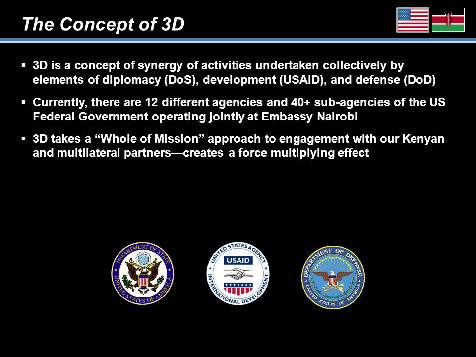 The Concept of 3D  3D is a concept of synergy of activities undertaken collectively by elements of diplomacy (DoS), development (USAID), and defense (DoD)  Currently, there are 12 different agencies and 40+ sub-agencies of the US Federal Government operating jointly at Embassy Nairobi  3D takes a Whole of Mission approach to engagement with our Kenyan and multilateral partners—creates a force multiplying effect