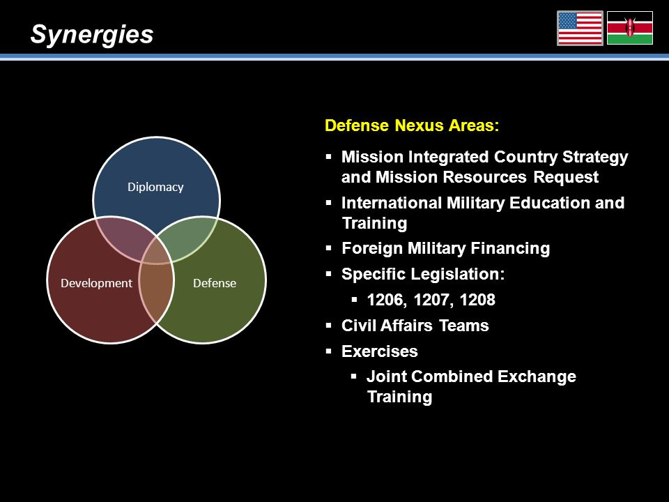 Synergies Diplomacy DefenseDevelopment Defense Nexus Areas:  Mission Integrated Country Strategy and Mission Resources Request  International Military Education and Training  Foreign Military Financing  Specific Legislation:  1206, 1207, 1208  Civil Affairs Teams  Exercises  Joint Combined Exchange Training