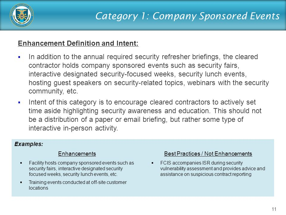 Category 1: Company Sponsored Events Enhancement Definition and Intent:  In addition to the annual required security refresher briefings, the cleared