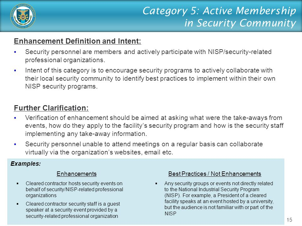 Category 5: Active Membership in Security Community Enhancement Definition and Intent:  Security personnel are members and actively participate with
