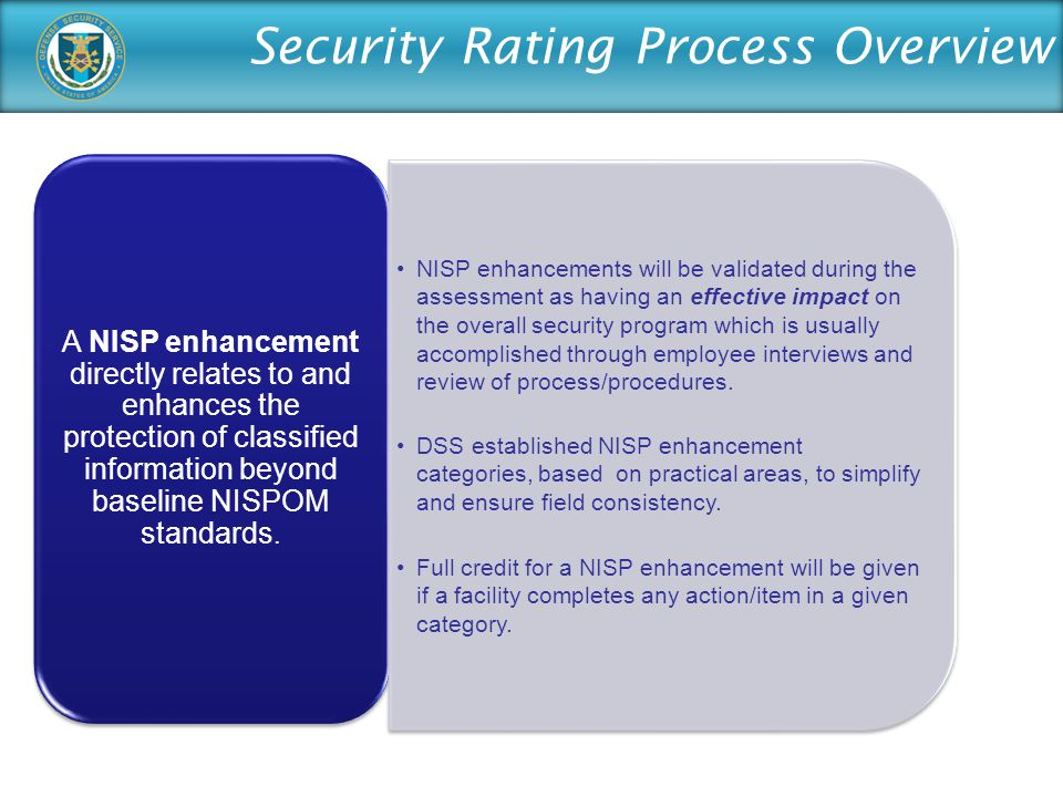 A NISP enhancement directly relates to and enhances the protection of classified information beyond baseline NISPOM standards.