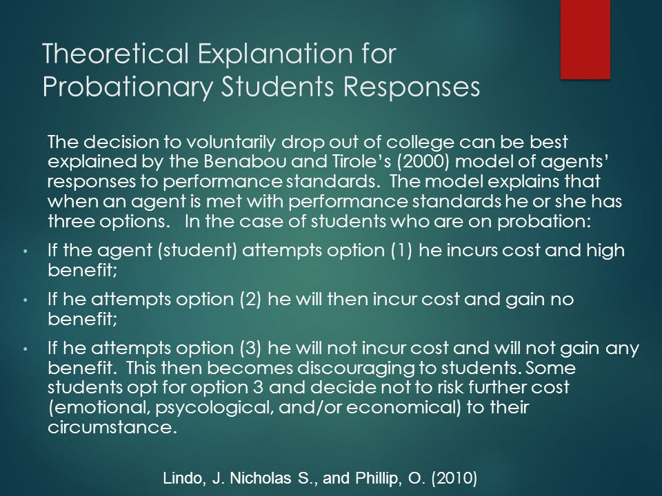 Theoretical Explanation for Probationary Students Responses The decision to voluntarily drop out of college can be best explained by the Benabou and Tirole's (2000) model of agents' responses to performance standards.