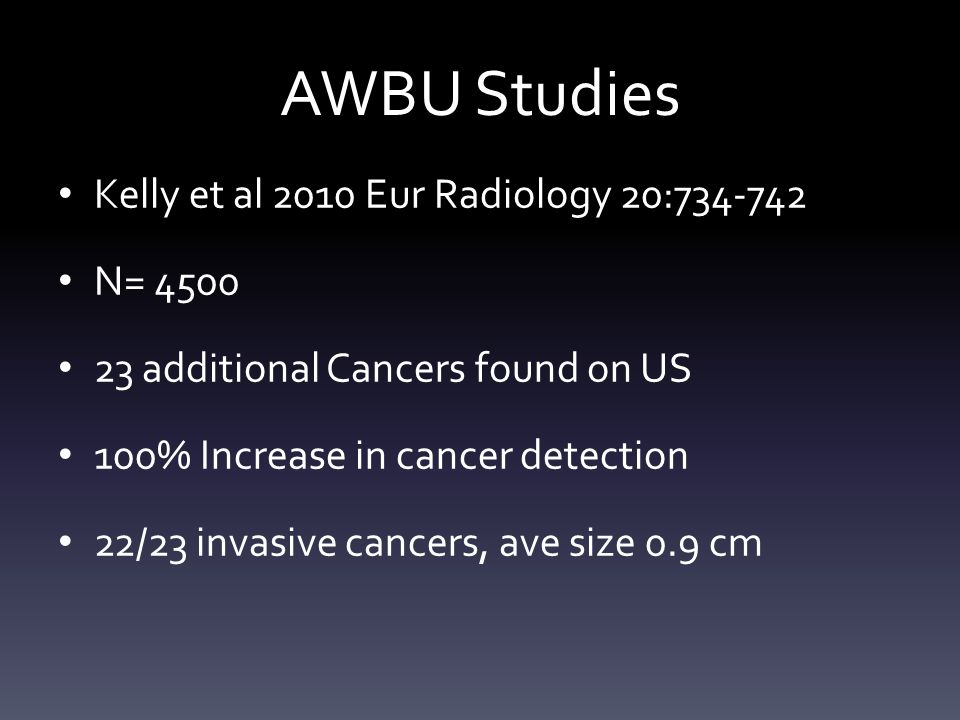 AWBU Studies Kelly et al 2010 Eur Radiology 20:734-742 N= 4500 23 additional Cancers found on US 100% Increase in cancer detection 22/23 invasive canc
