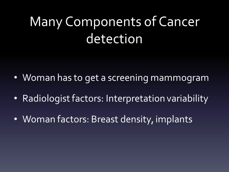 Many Components of Cancer detection Woman has to get a screening mammogram Radiologist factors: Interpretation variability Woman factors: Breast densi